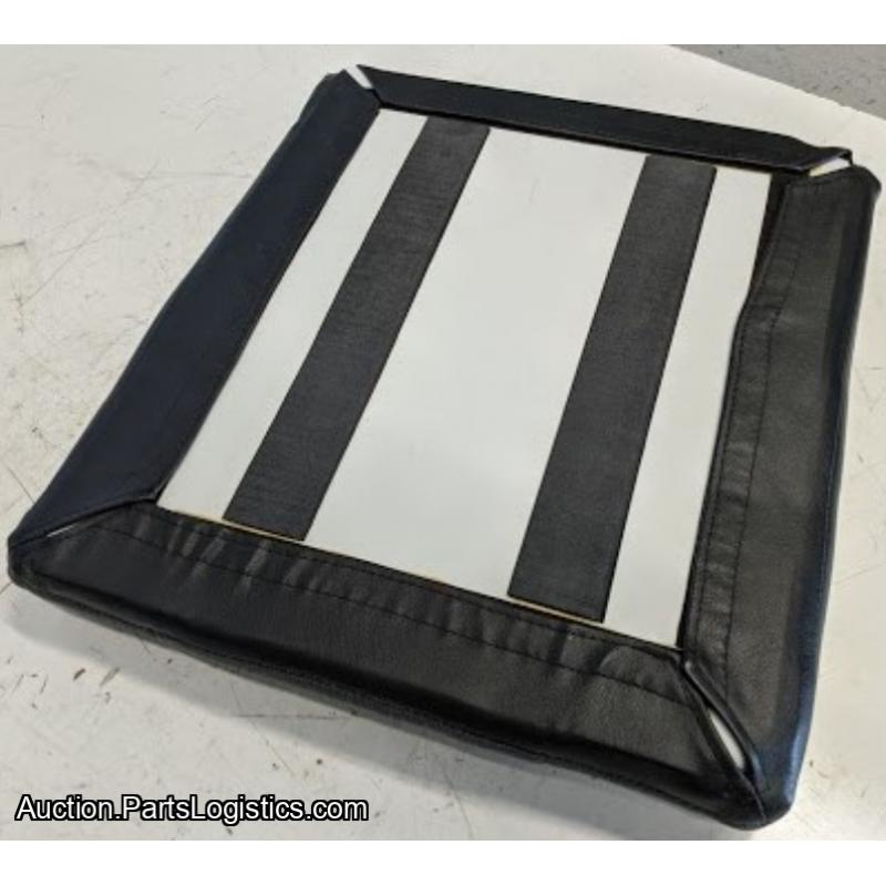 PN: PBK-58-102, Bell 206 Pilot Seat Back, Grey Cloth with Black Leather Trim, New, ID: D11