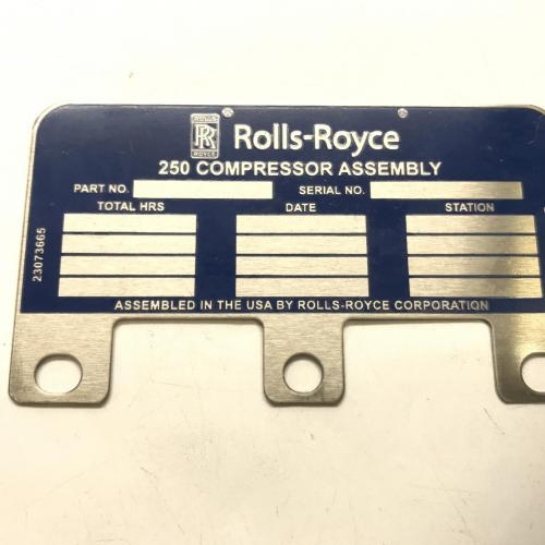 New OEM Approved RR M250, Identification Plate, P/N: 23073665