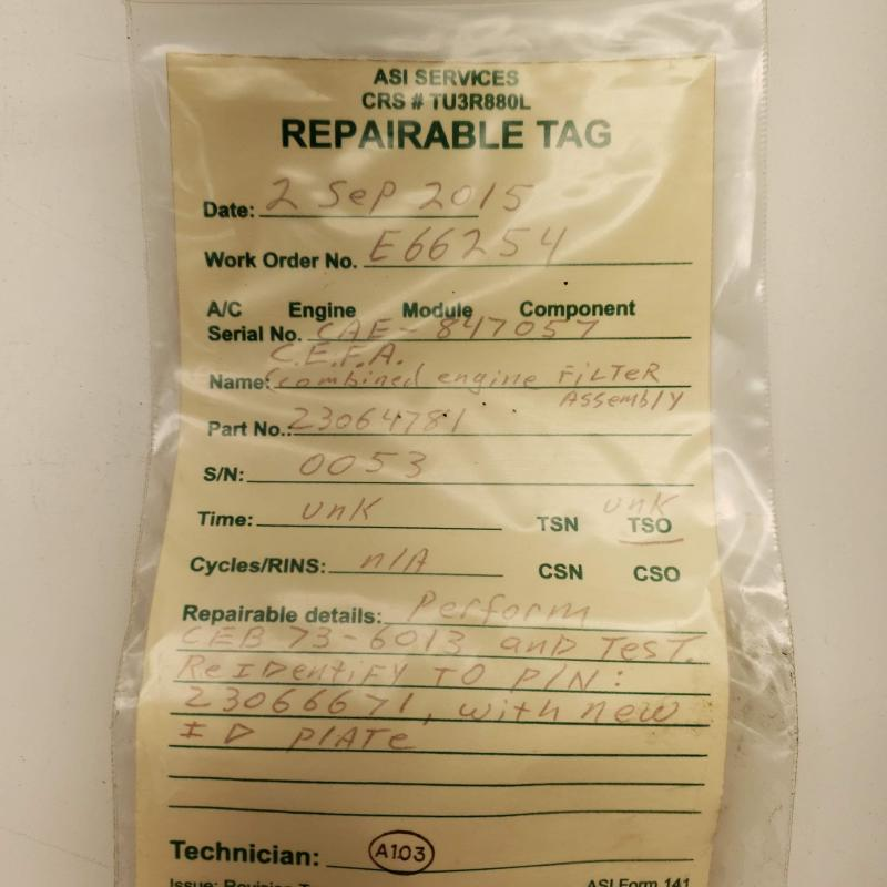 As Removed, Rolls-Royce M250, Combined Engine Filter Assembly, P/N: 23064781, S/N: 0053, ID: AZA