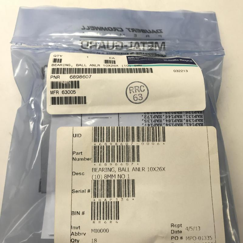 New OEM Approved RR M250, Annular Ball Bearing, P/N: 6898607, S/N: HAP136